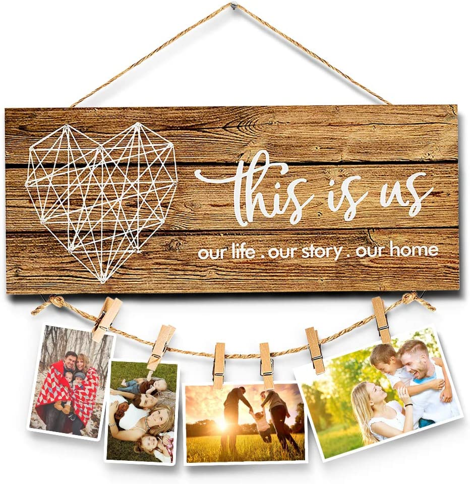 Darhoo Rustic Home Decor-This is Us-Picture Holder,Wooden Signs for Farmhouse Wall Decor Plaques with Clips and Twine for Photo Hanging,Housewarming Gifts for New Home,Couples,Valentine's Day