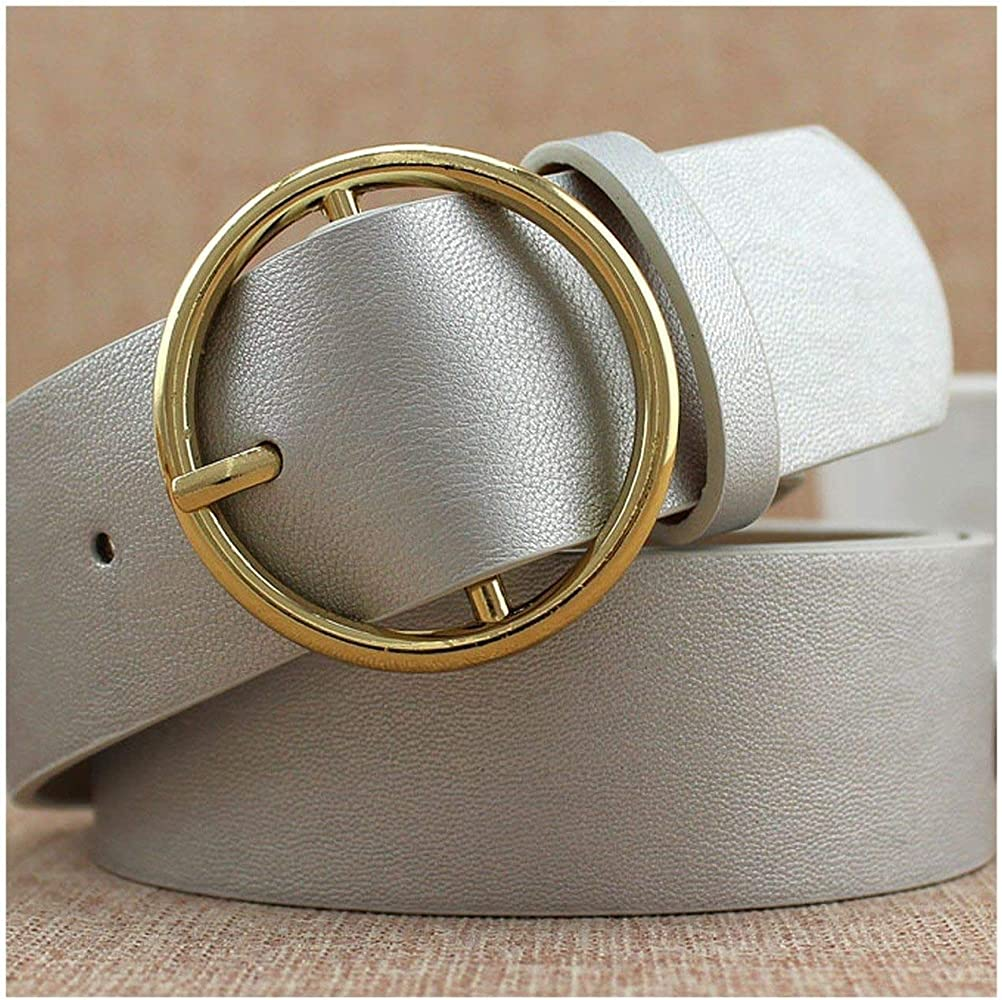 Leather Belt White Gold