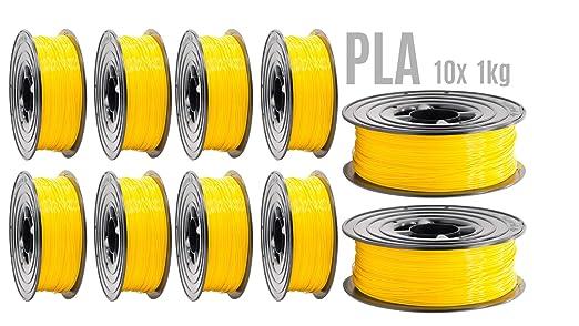 Filamento PLA para impresora 3D, 1,75 mm, 10 unidades, 1 kg, rollo ...