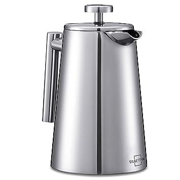SILBERTHAL Cafetera de acero inoxidable émbolo | Cafetera french press 0,7 litros | Prensa francesa de café | Tetera con filtro permanente: Amazon.es: Hogar