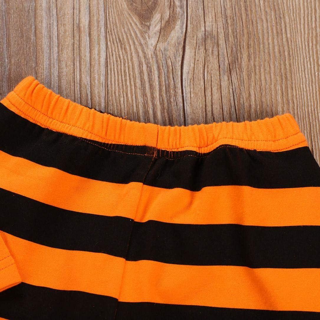 Adorable Ruffle Cat Long Sleeves Top Shirt Stripe Pants 2PCS Princess Clothes Little Baby Girls Halloween Costumes