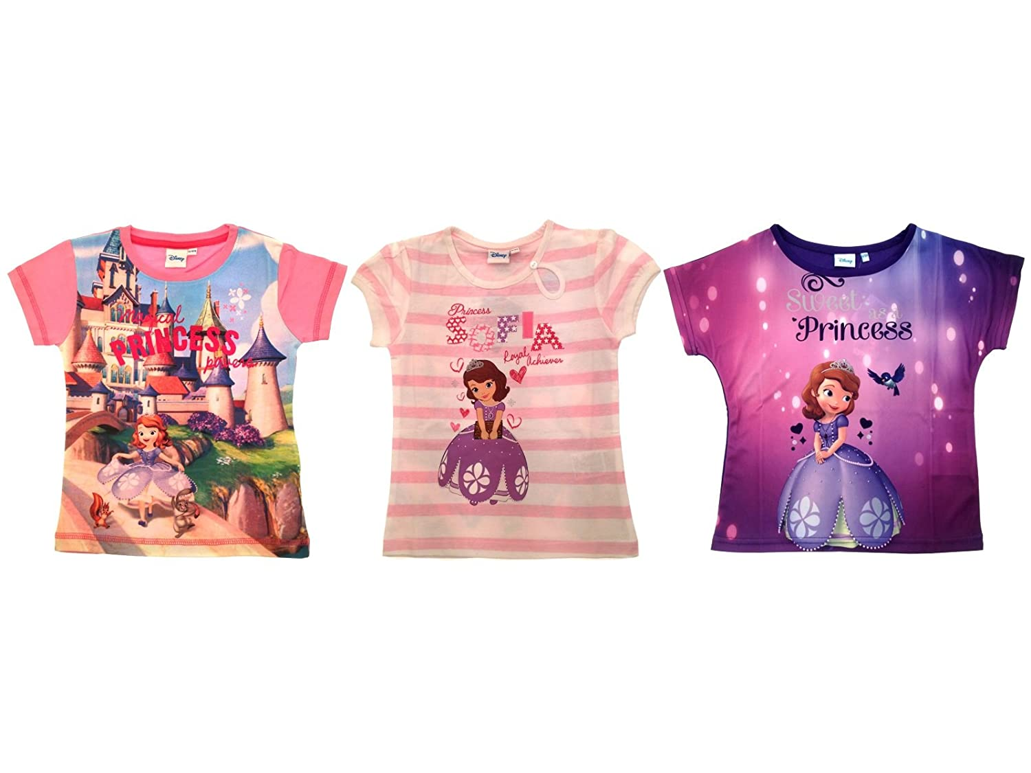 Disney Girls Princess Sofia The First Summer Tops T Shirts Size UK 2-8 Years:  Amazon.co.uk: Clothing