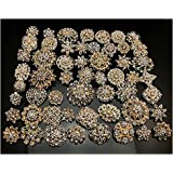 Amazon Com Your Perfect Gifts 40 Pcs Gold Rhinestone Brooches Set
