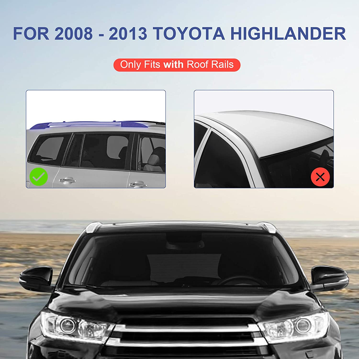 MOSTPLUS Roof Rack Cross Bar Rail Compatible for Toyota Highlander with Side Rails 2008 2009 2010 2011 2012 2013