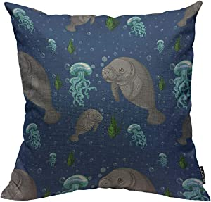 Mugod Manatee Throw Pillow Cover Seamless Background with Tropical Sea Wildlife Manatee Underwater Decorative Square Pillow Case for Home Bedroom Living Room Cushion Cover 18x18 Inch