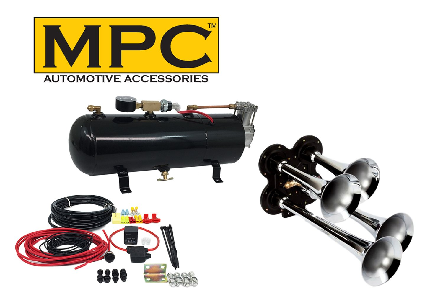 MPC B1 (0419) 4 Trumpet Train Air Horn Kit, Fits Almost Any Vehicle, Truck, Car, Jeep or SUV by MPC