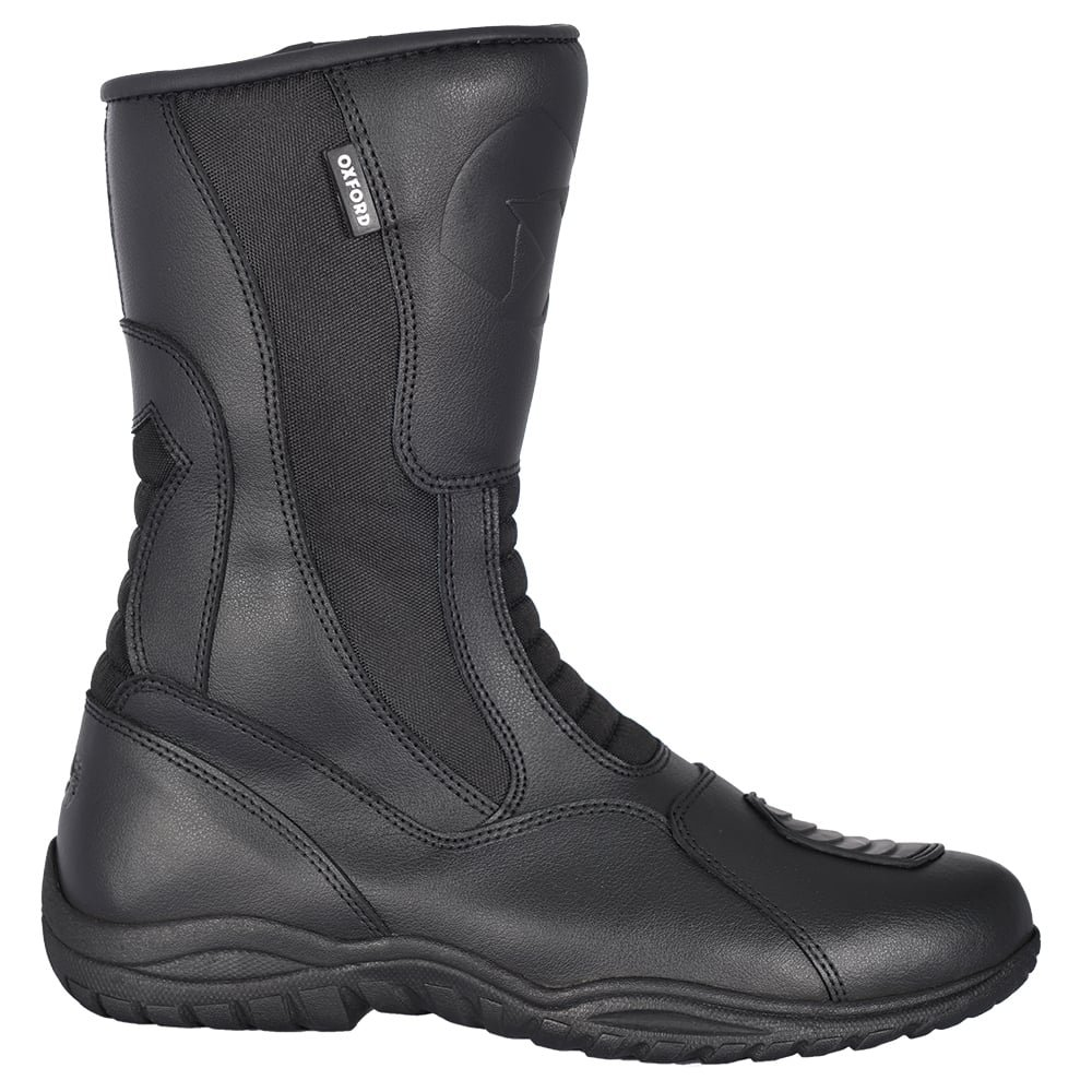 Oxford Tracker Waterproof Leather Motorcycle Boots  –   Black  –   Black  –   EU 43 5030009021961