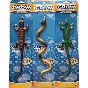 Bundle Lot of 3 Grow Creatures: Brown Alligator ~ Purple Yellow Snake ~ Green Iguana Lizard