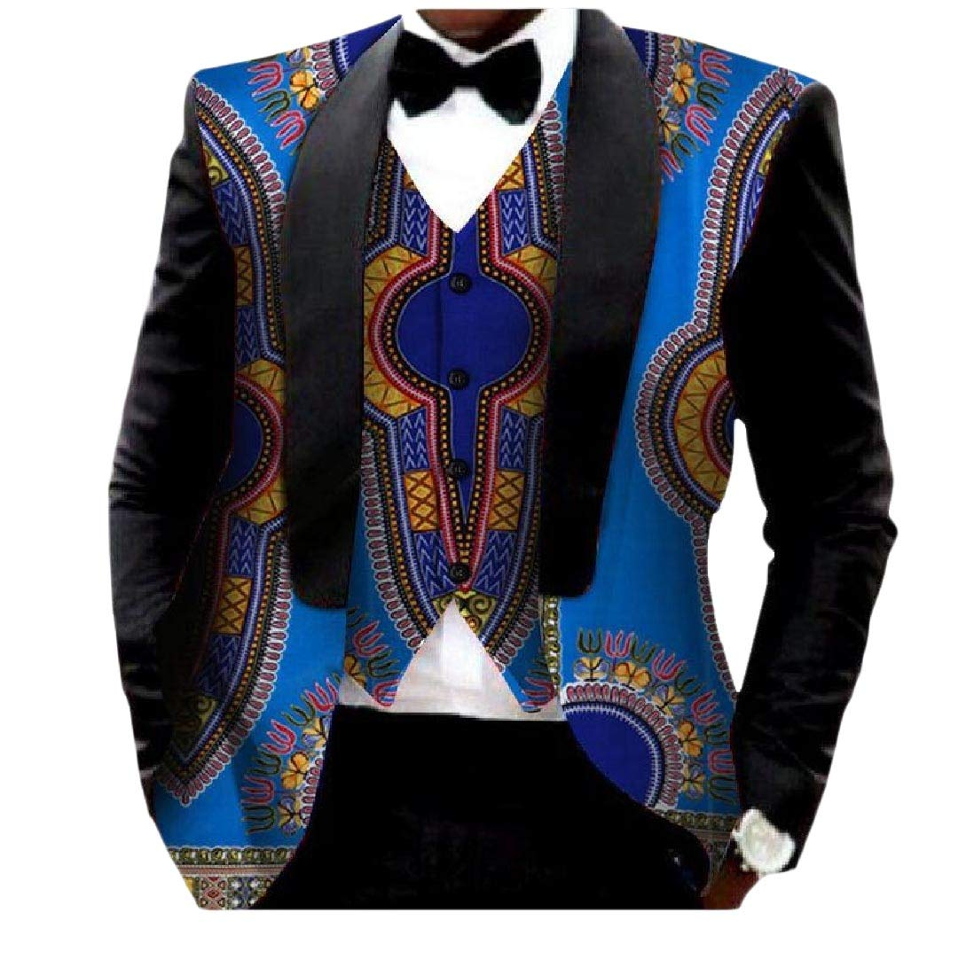 AGAING Men African Print 2pcs-Set Vest Blazer Classic Slim Fit Suit Jacket 22 M