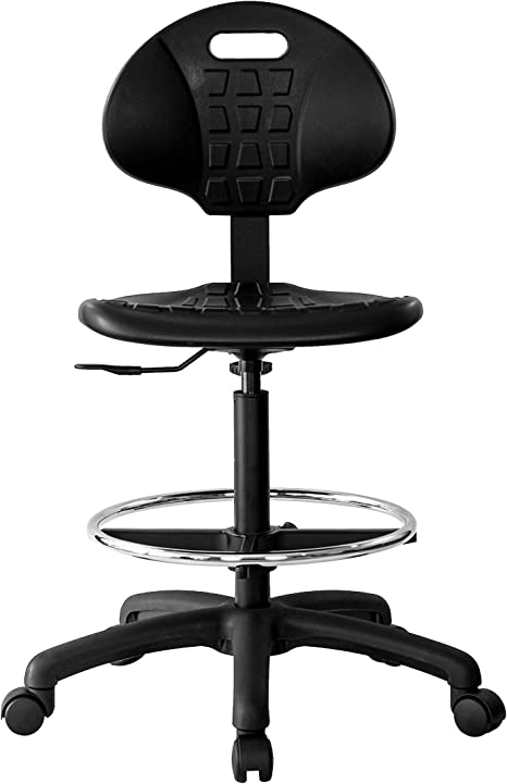 Chair Master Drafting Stool Easy To Clean Ergonomic Polyurethane Chair Seat Height Adjustable 23 33 Heavy Duty Adjustable Footring For Home Automotive Lab Cleanroom Kitchen Dining