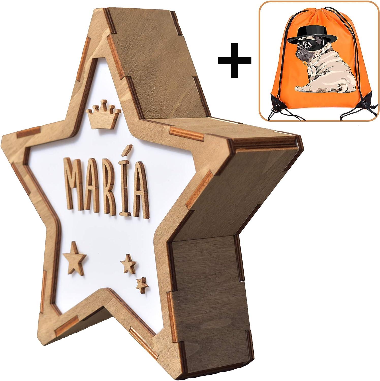 Koopete.Lámpara mesilla de Noche Infantil, para Personalizar con el Nombre. Estrella Decorativa de Madera con luz. Lámpara Bebe quitamiedos. Regalo niño Personalizado.Obsequio de una Mochila.