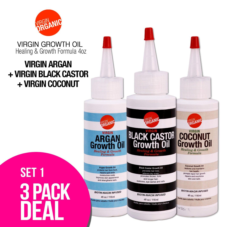 (3-in-One) Virgin Organic Argan, Black Castor, Coconut Growth Oil Healing & Hair Growth Formula 4oz