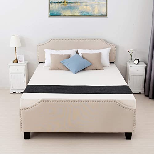 mecor Queen Upholstered Linen Platform Bed with Curved Shape Headboard and Footboard, Metal Frame with Strong Wood Slat Support, Headboard Height Adjustable, No Box Spring Needed, Beige, Queen Size