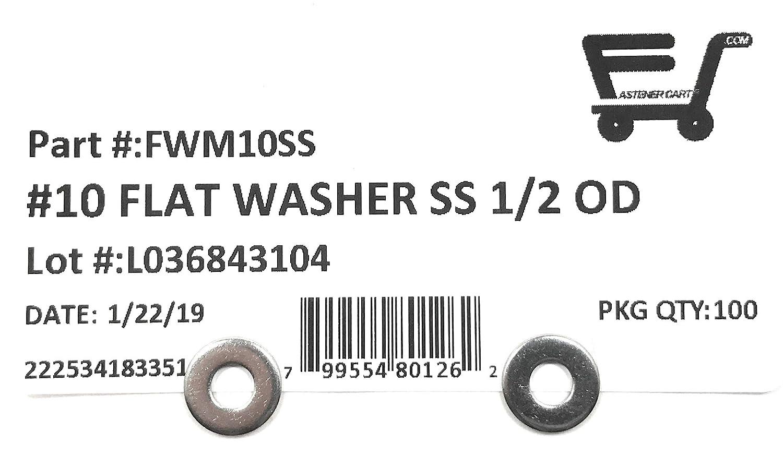 #10 ID x 1//2 OD Stainless Steel Machine Screw Washer 100 Pieces