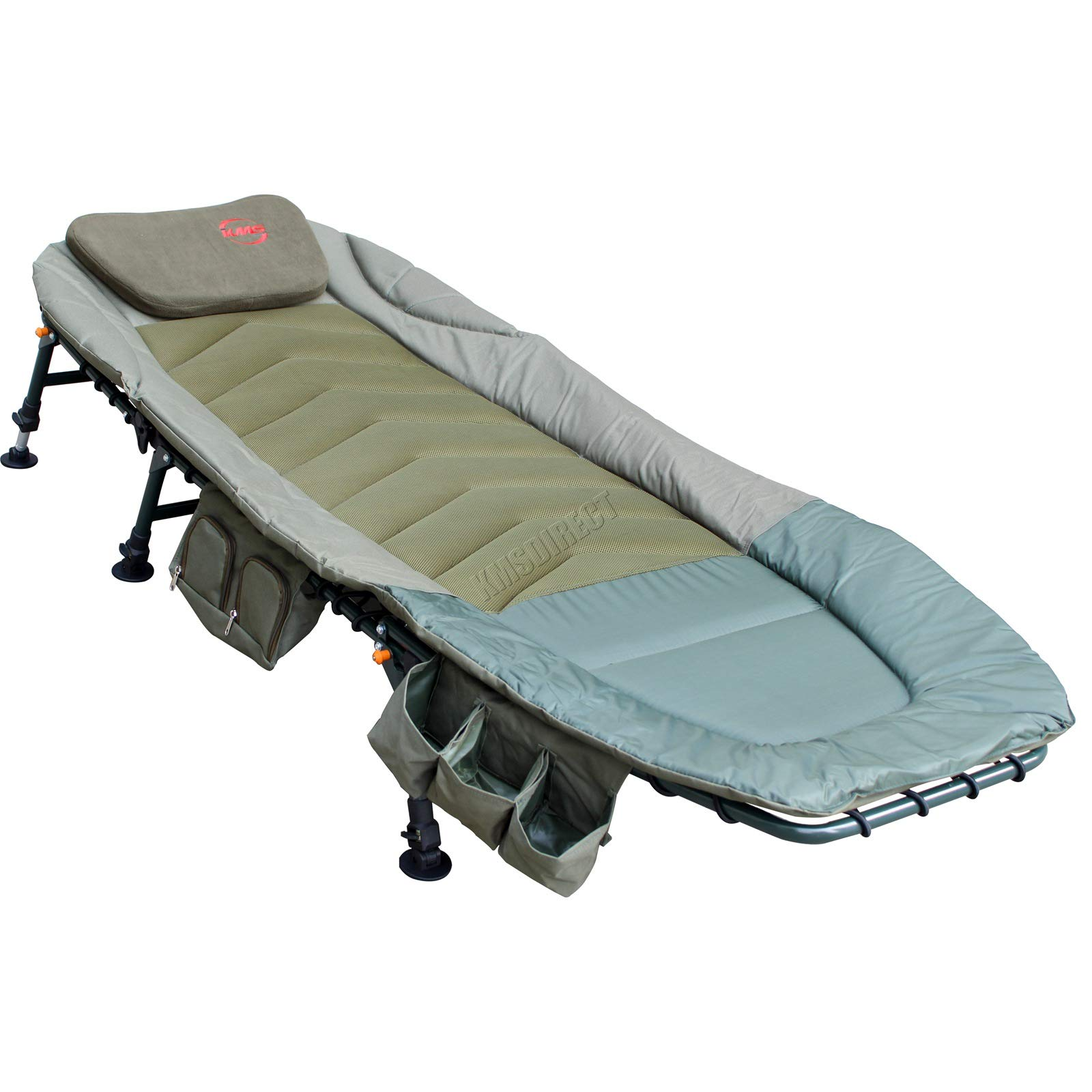 DELUXE CARP FISHING BED CHAIR BEDCHAIR 6 ADJUSTABLE LEGS PILLOW CAMPING COMFY