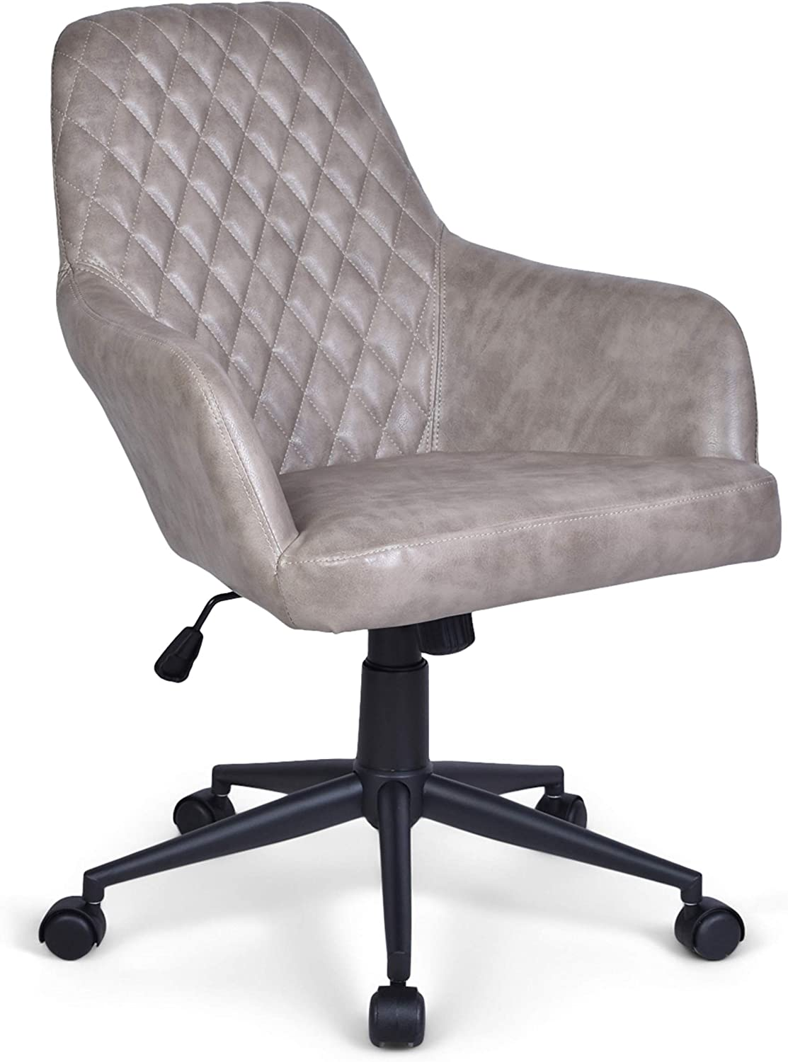 Simpli Home Goodwin Swivel Adjustable Executive Computer Office Chair in Distressed Grey