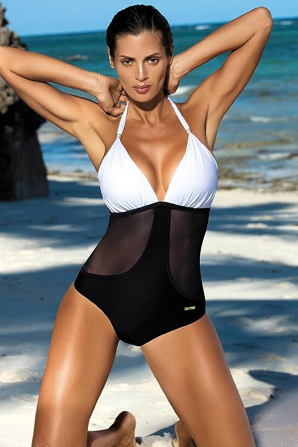 da1391eb776 Marko Priscilla M-428 Women's Monokini Padded Cups Halterneck -,  Black-White,L: Amazon.ca: Clothing & Accessories