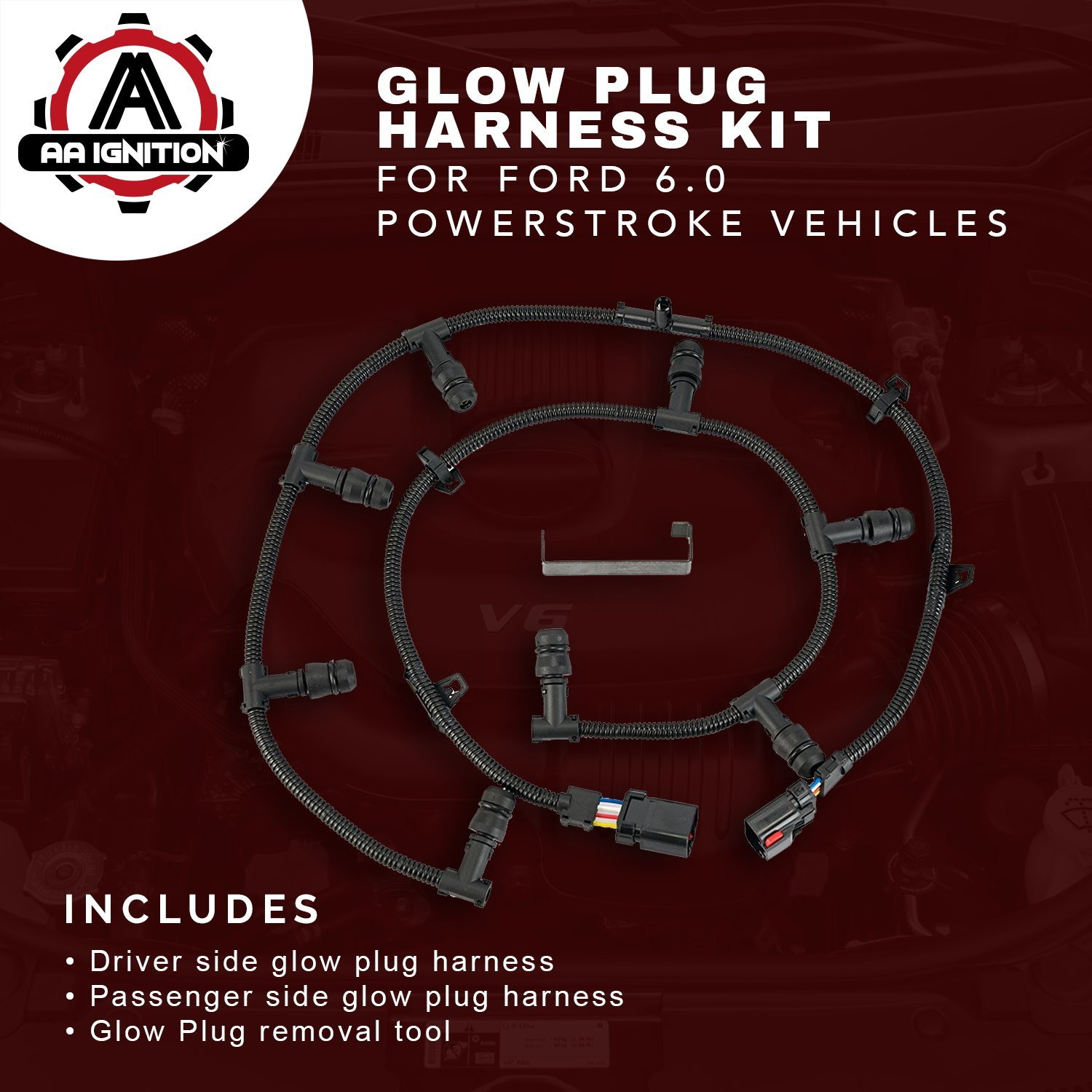 Ford Powerstroke 60 Glow Plug Harness Kit Compatible Replacing Wiring Cost Replacement Includes Right Left Removal Tool Fits F250 Super Duty F350