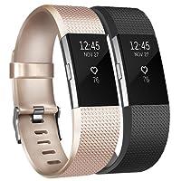 Tobfit Bracelets pour Fitbit Charge 2 l'acier Inoxydable Secure Boucle Remplacement Reglables Bracelet Strap pour Fitbit Charge 2