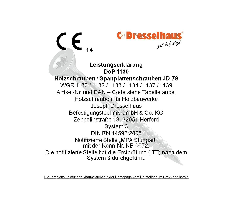 6 x 50 mm Dresselhaus 0//1130//001//6,0//50// //03 JD-79-Universalschraube mit Senkkopf Kreuzschlitz Z und Vollgewinde galvanisch verzinkt 6 x 50 200 St/ück
