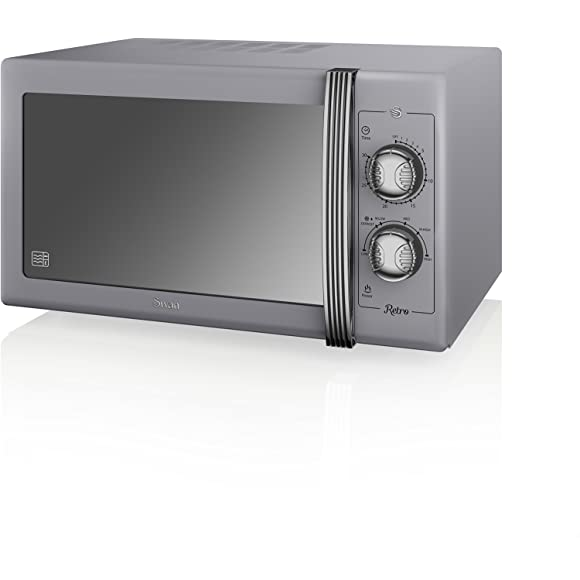 SWAN Retro Manual Microwave, 25 Litre, 900 W, Grey