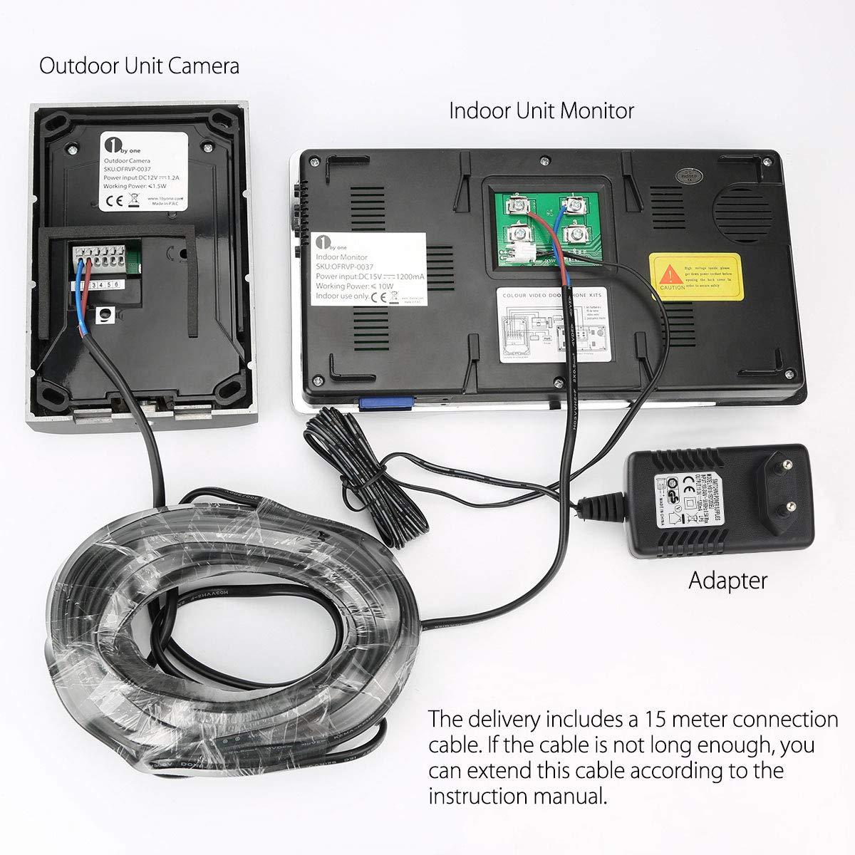 1byone videoportero sistema de intercomunicaci/ón de v/ídeo con 2 hilos timbre montado en superficies al aire libre monitor a color de 7 pulgadas y c/ámara HD con timbre de video y cable de 15 metros