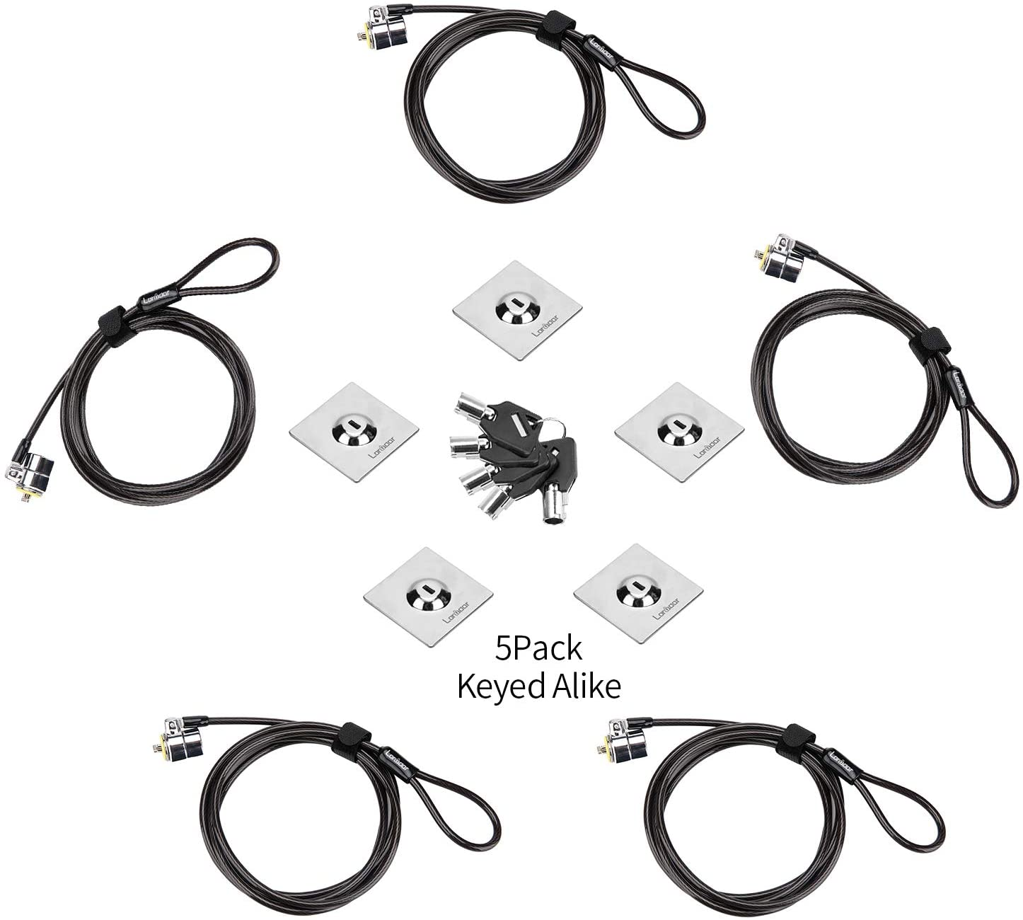 Loradar Laptop Cable Lock Hardware Security Cable Lock Anti Theft 5Keys 6.7Ft Compatible for Laptops, iMac,Out Door TV,Mac Mini,& Other Devices Longer Cable (Keyed Alike 5Pack)