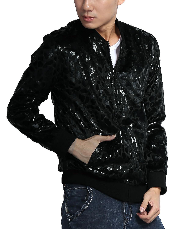 a7c3b3a14f96 Allegra K Men Stand Collar Leopard Zip Up Plush Jacket at Amazon Men's  Clothing store: Windbreaker Jackets