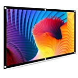"""Projector Screen, HENZIN 120"""" Inches 16:9 Portable Indoor Outdoor Projection Movie Screen Foldable Wall Mounted with Peel and Hooks (Anti-Crease, Easy to Clean, Support Double Sides Projection)"""