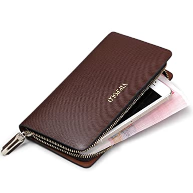 44eaf5eedb Image Unavailable. Image not available for. Colour: William POLO Men's  Genuine Leather Long Zipper Checkbook Wallet Clutch Bag Zip Around ...