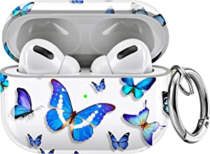 Maxjoy Compatible AirPods Pro Case Cover, Clear Butterfly Case Cute Protective Soft Shockproof Case with Keychain for Girls Women Men Compatible with Apple AirPods Pro 3 Wireless Charging Case, Blue