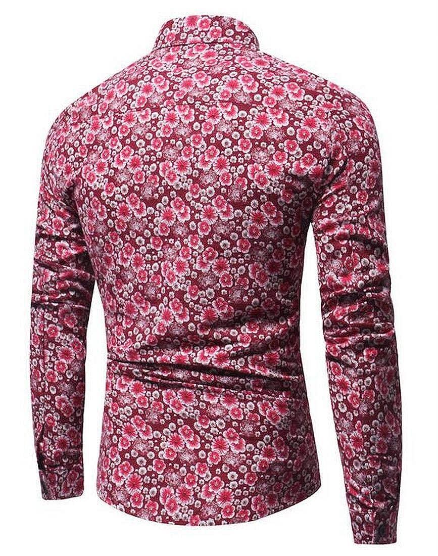 Nanquan Men Lapel Long Sleeve Button Retro Floral Print Dress Top Shirt