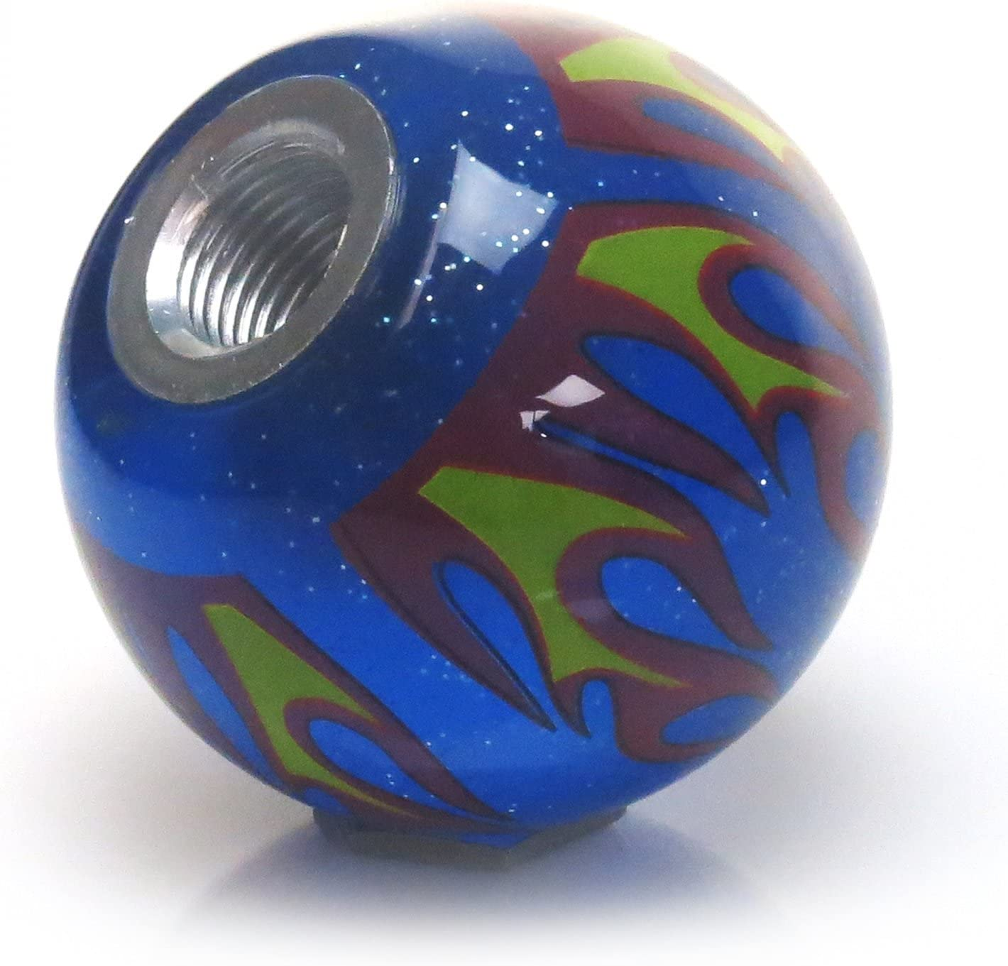 American Shifter 244482 Blue Flame Metal Flake Shift Knob with M16 x 1.5 Insert Green Dotted Directional Arrow Up