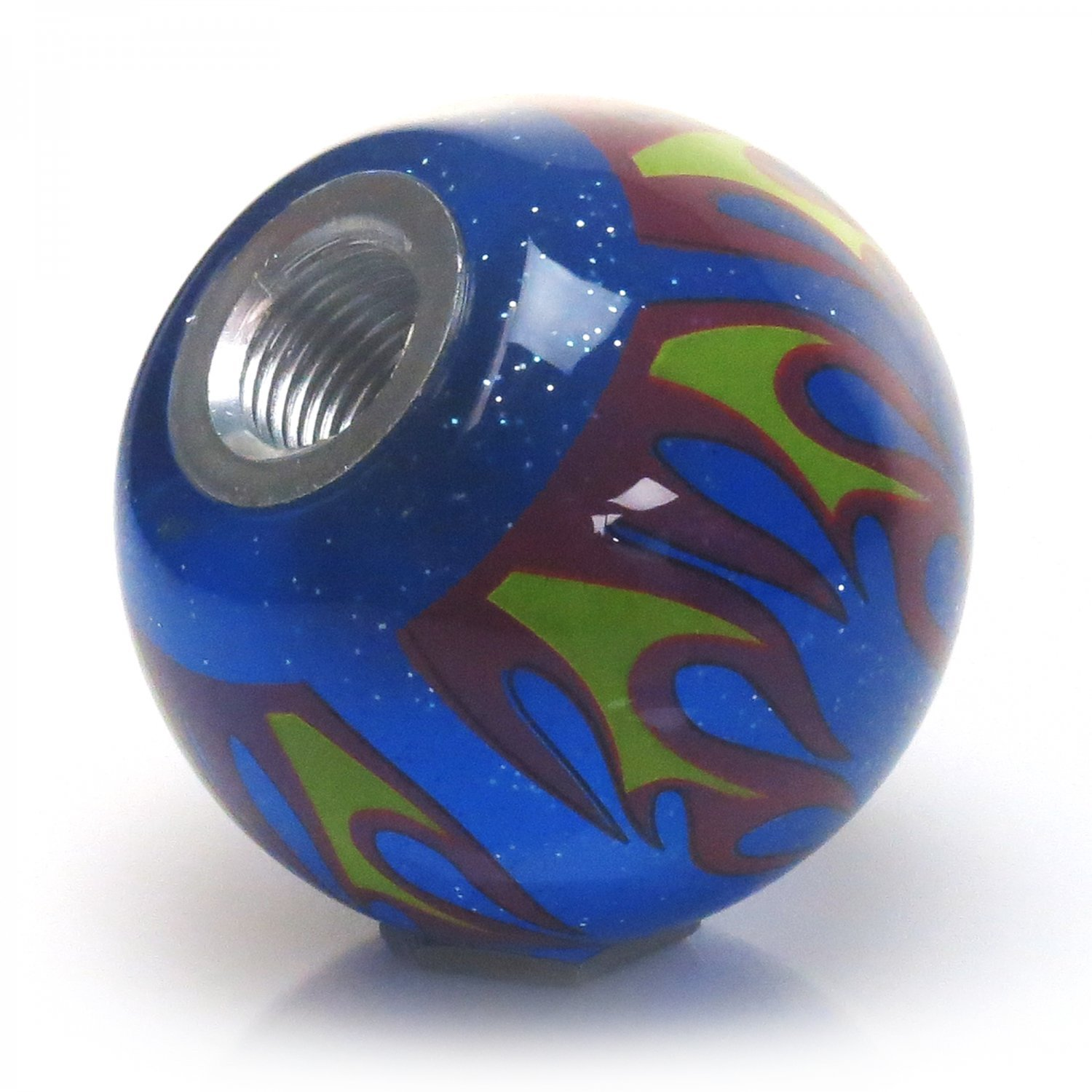 American Shifter 244540 Blue Flame Metal Flake Shift Knob with M16 x 1.5 Insert Green Ball #5