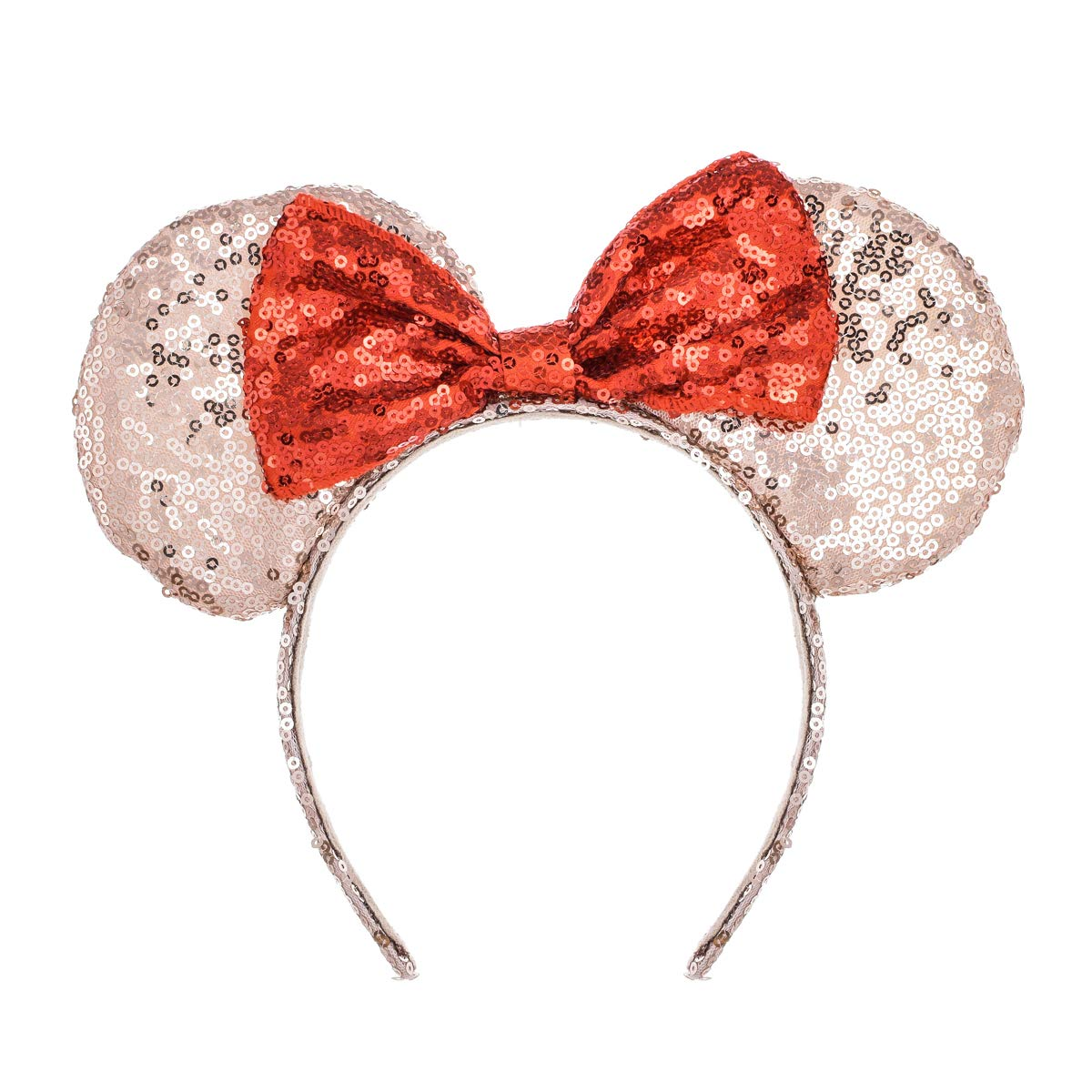 A Miaow Sequin Black Mouse Ears Headband MM Glitter Hair Clasp Adults Women Girls Butterfly Hair Hoop Birthday Party Holiday Park Photo Supply (Champagne and Red)