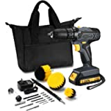 TOPELEK 20V Cordless Drill 2.0Ah Lithium-ion Battery Drill Driver, Drill Kit with 3 Drill Brushes, LED, 2-speeds, 18+1…