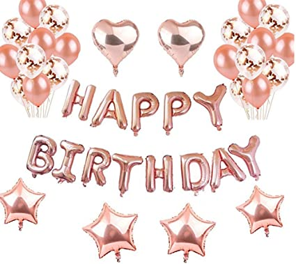 JETTINGBUY 1 Rosegold Happy Birthday Banner 10 Balloons Confetti 2