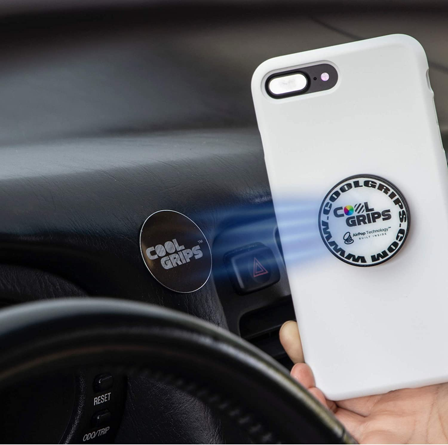 Stand Cell Phone Grips by Coolgrips- Marble Slab and Mount-Flexible Soft Middle Allows for a Comfortable fit-mounts to Any Metal Surface Collapsible Magnet Phone Grip