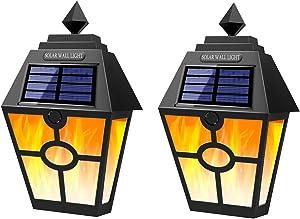 T-SUN Solar Flame Lights Outdoor ,28 LEDs Deck Flame Wall Lights,Wireless Waterproof Solar Lights Motion Sensor for Outdoor Garden,Party, Patio, Fence,Garage,Back/Front Door - 2Pack