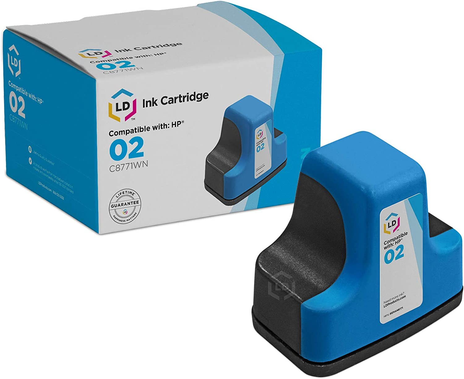 LD Products Remanufactured Replacement for HP 02 / C8771WN Cyan Ink Cartridge for HP Photosmart Printer Series