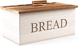 Wood Bread Box with Lid - Rustic Bread Box for Kitchen Countertop - Farmhouse Bread Box & Kitchen Decor - Retro Bread Boxes for Kitchen Counter - Large Bread Bin Holder - Bread Storage Container