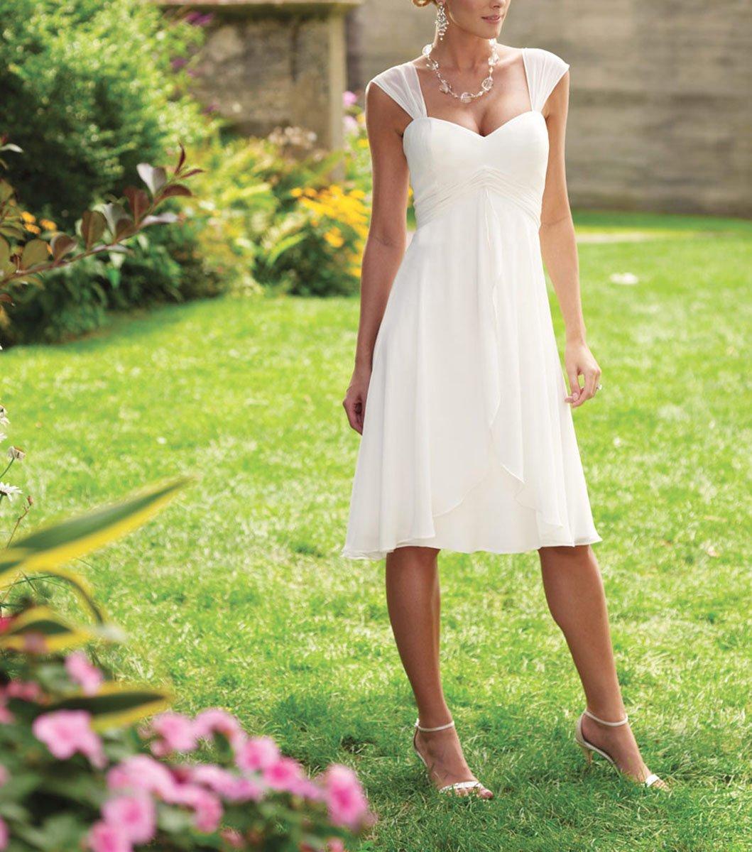 Udresses 2017 Knee Length Vestidos de Novia Simple Chiffon Wedding Dresses with Cap Sleeves Z5 at Amazon Womens Clothing store: