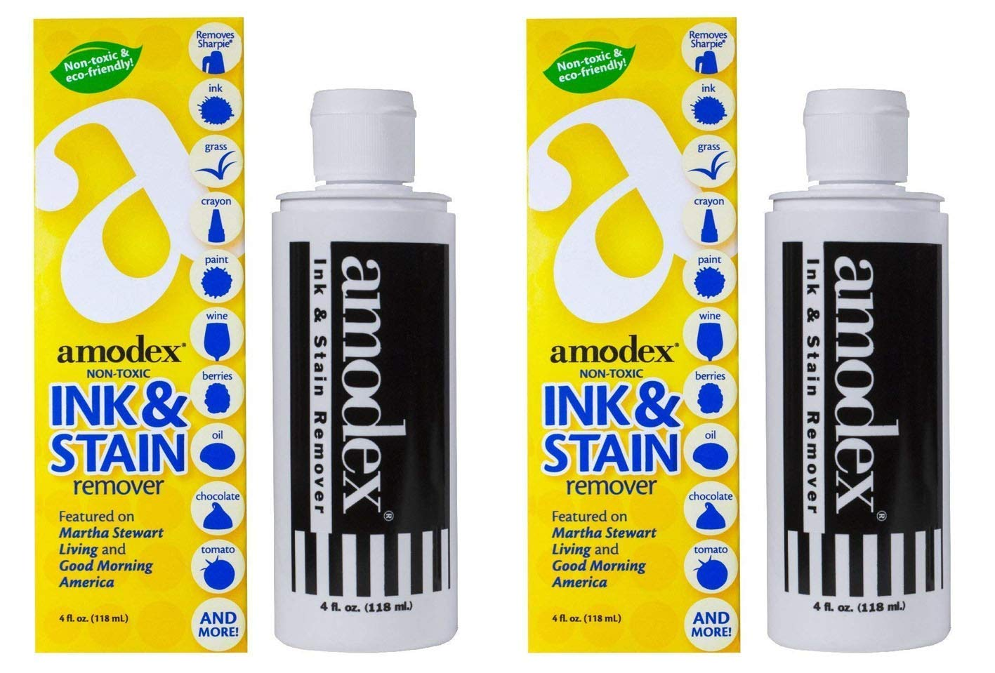 Amodex Ink and Stain Remover - Cleans Marker, Ink, Crayon, Pen, Makeup from Furniture, Skin, Clothing, Fabric, Leather - Liquid Solution - 4 fl oz Bottle (Pack of 2)