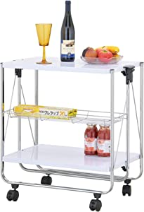 ikloo 2-Tier Multi-Purpose Foldable Utility Cart with Commercial Grade Lockable Caster Wheels, Collapsible Table Serving Cart and Kitchen Organizer for Home and Business Use (White)