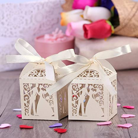 Amazon.com: Cajas de regalo de lujo para dulces de boda con ...