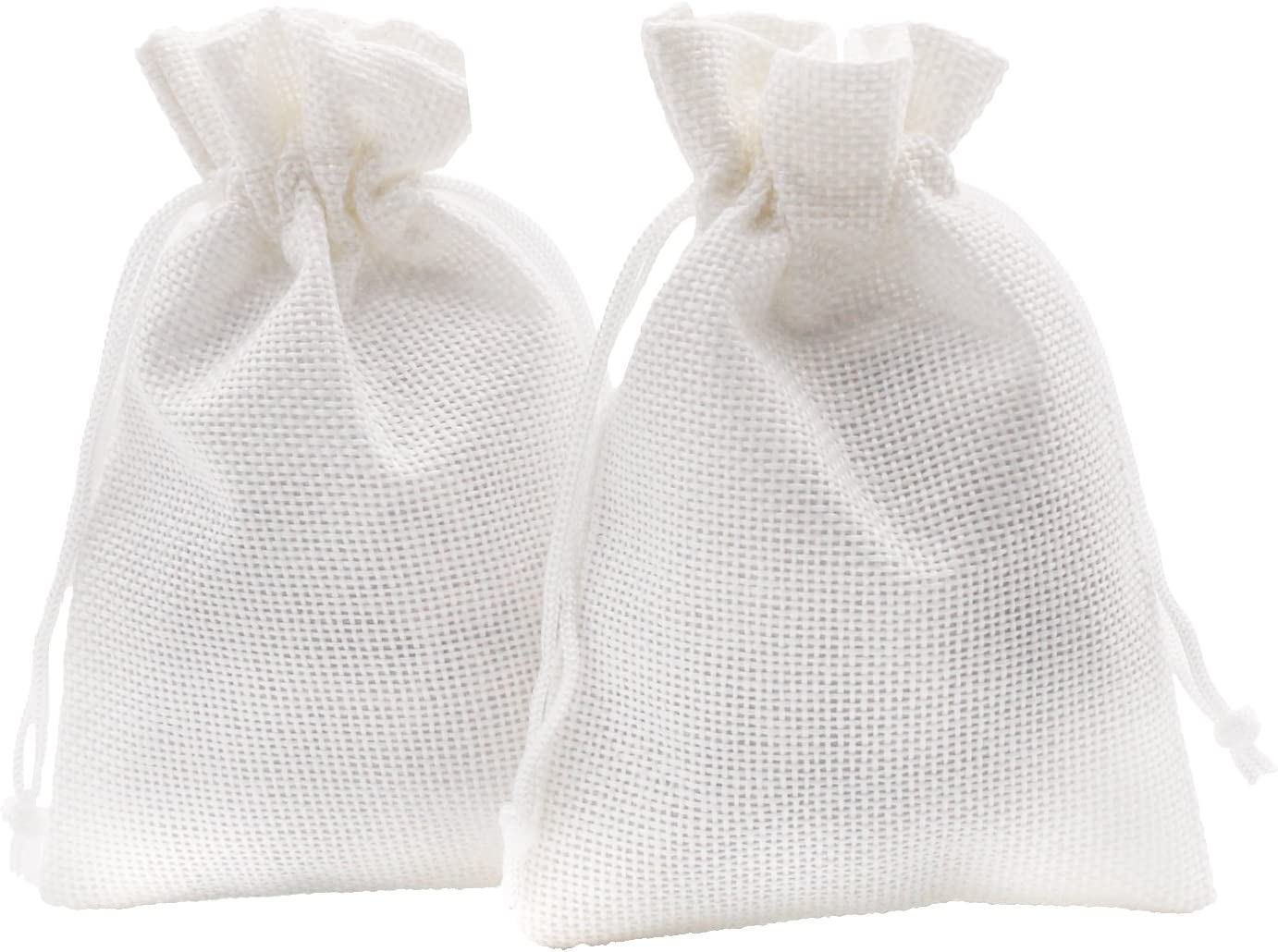 SumDirect Linen Gift Sachets Favors Pouches Party Wedding Jewelry Craft Sacks White Burlap Bags with Nylon Drawstring, 3.7x5.5 Inches,Pack of 20