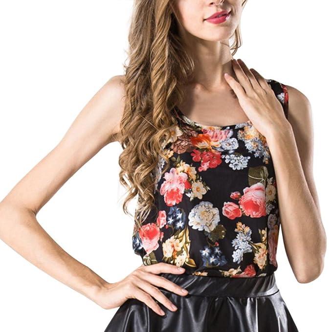 Cinnamou Chaleco sin Mangas para Mujer Camisa de Chiffon Estampada Camisa Suelta Blusa de Gasa