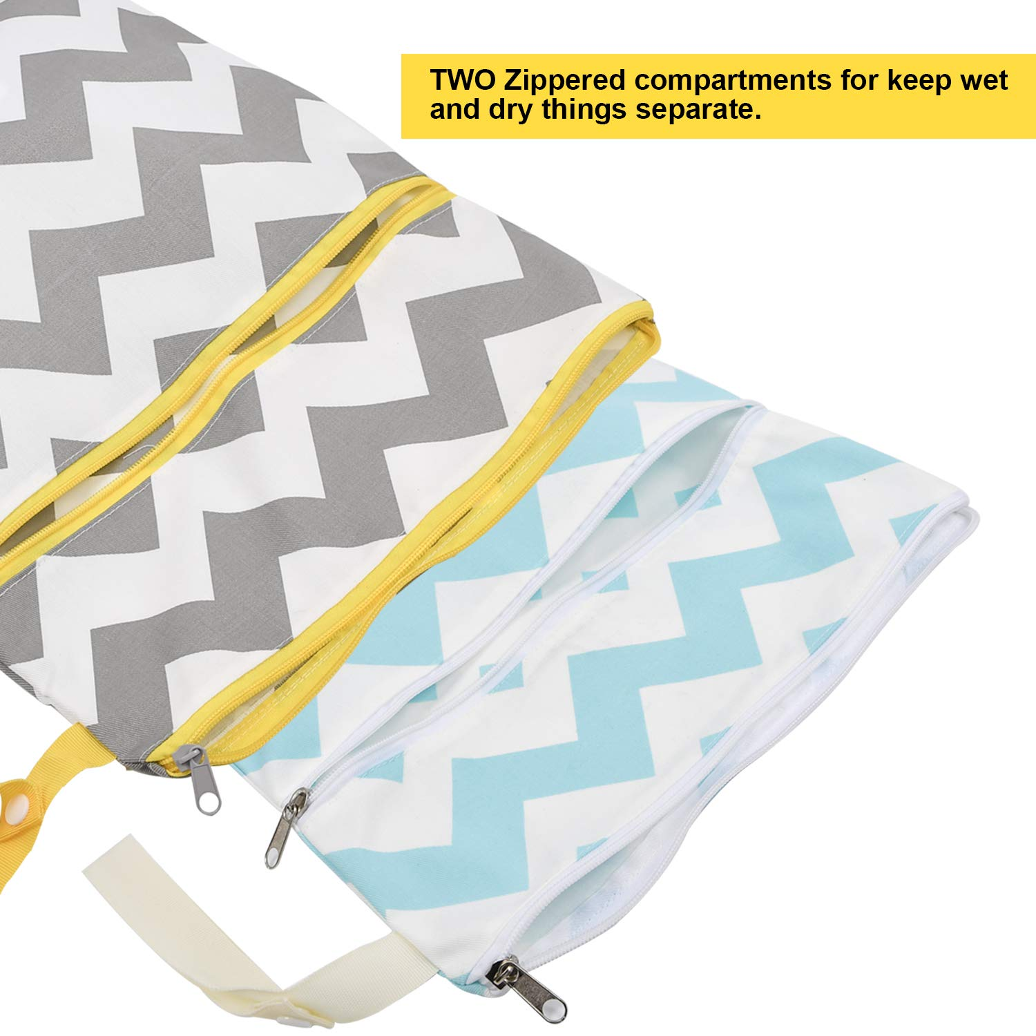 Daycare Beach Gym Bag for Swimsuit or Wet Clothes Waterproof Pool Yoga Washable 2pcs Cloth Diaper Wet//Dry Bags Reusable,Travel 2 Zippered Pockets AILELAN Wet Bags Soiled Baby Items