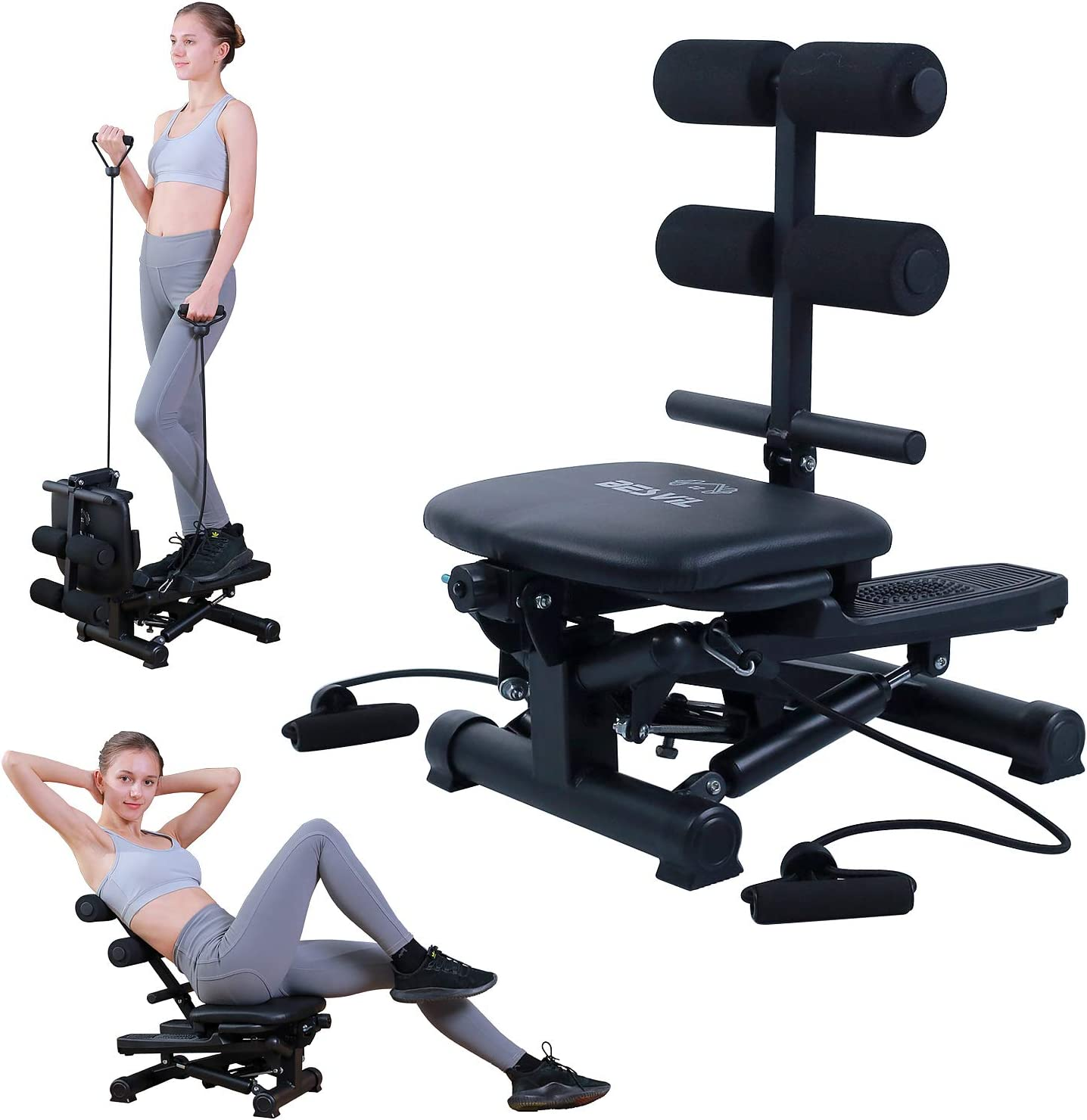 BESVIL Stepper ABS Workout Equipment AB Machine Total Body Workout Fitness Exercise Machine Stepping Exercise Machine for Home Gym Workout,Black