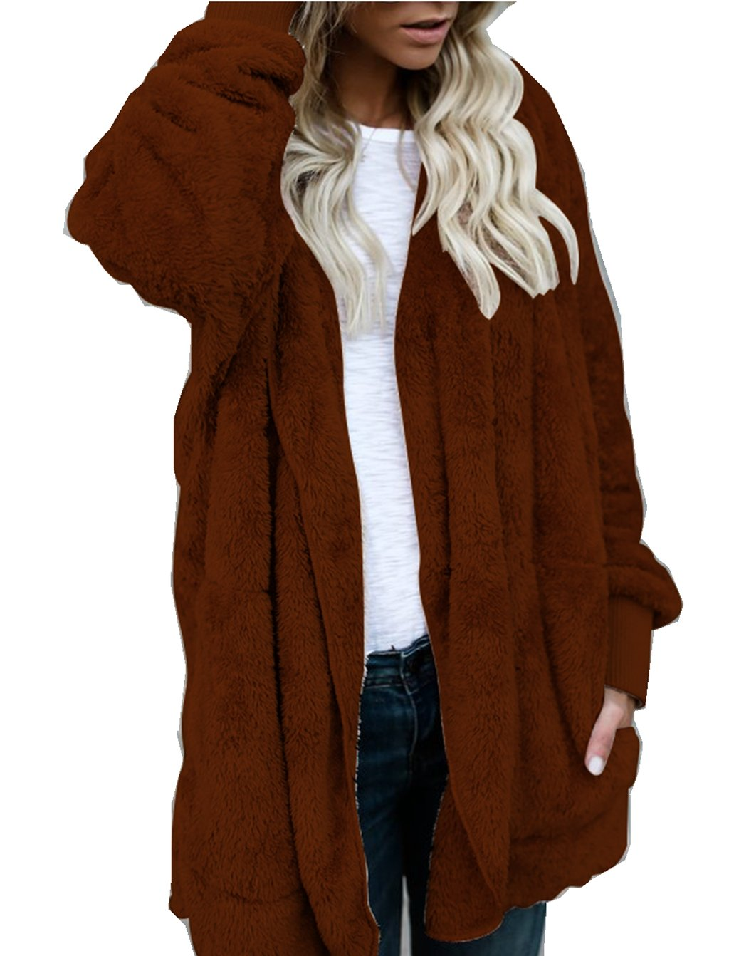 ASSKDAN Womens Fluffy Fuzzy Soft Open Front Hooded Cardigan Casual Long Sleeve Baggy Warm Long Jacket Coat Jumpers Outwear(S-XXL)
